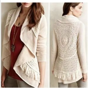 Knitted & Knotted Anthropologie Fringe Cardigan